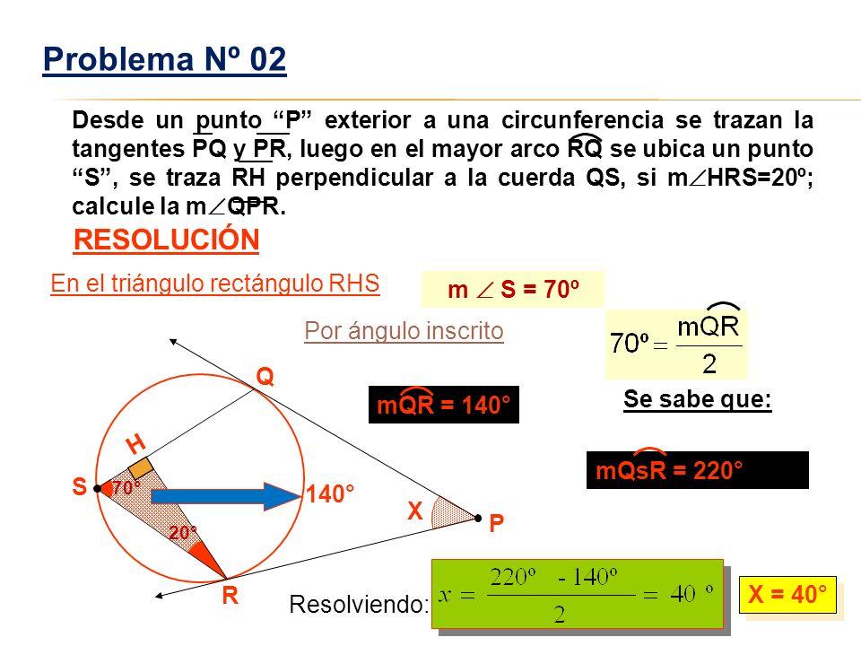 20° 70° X X = 40° R Q H En el triángulo rectángulo RHS 140° Se sabe que: Por ángulo inscrito Problema Nº 02 RESOLUCIÓN P S m S = 70º Resolviendo: mQR