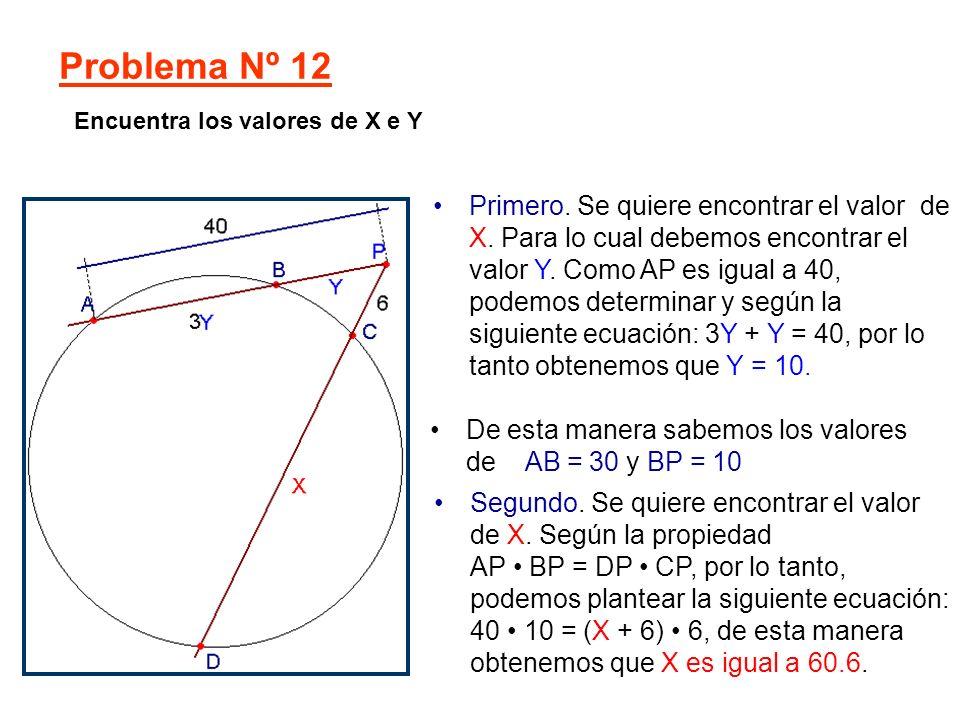 Primero. Se quiere encontrar el valor de X. Para lo cual debemos encontrar el valor Y. Como AP es igual a 40, podemos determinar y según la siguiente