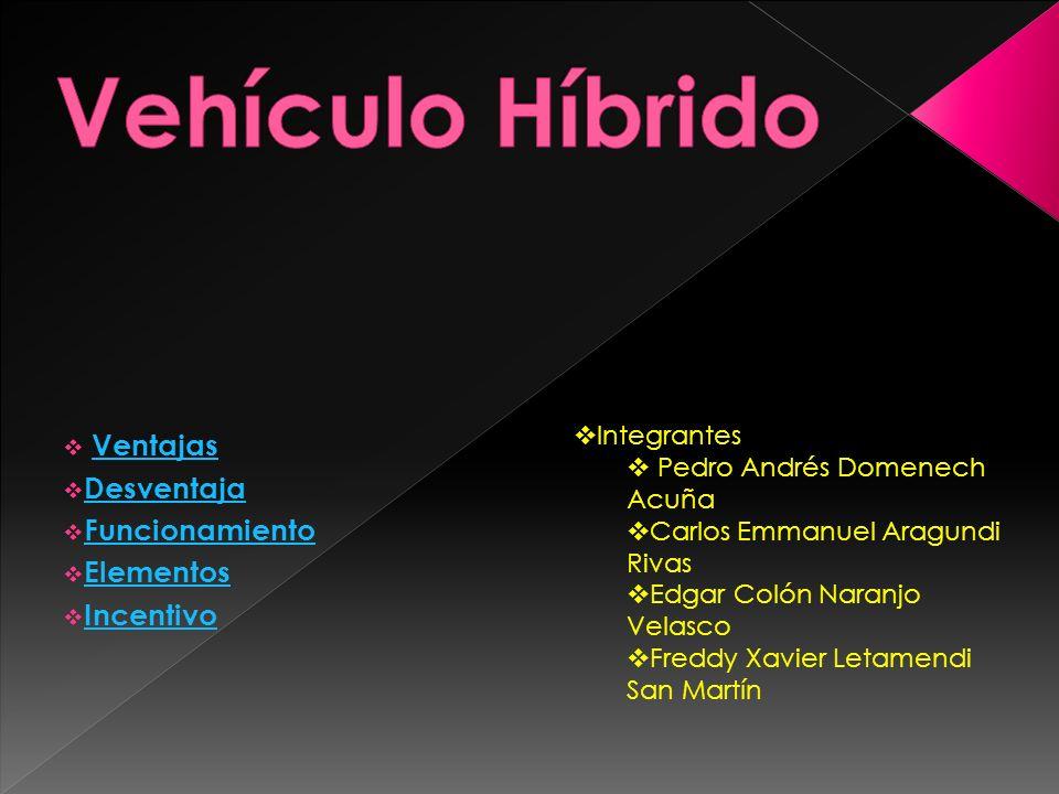 Ventajas Desventaja Funcionamiento Elementos Incentivo Integrantes Pedro Andrés Domenech Acuña Carlos Emmanuel Aragundi Rivas Edgar Colón Naranjo Vela