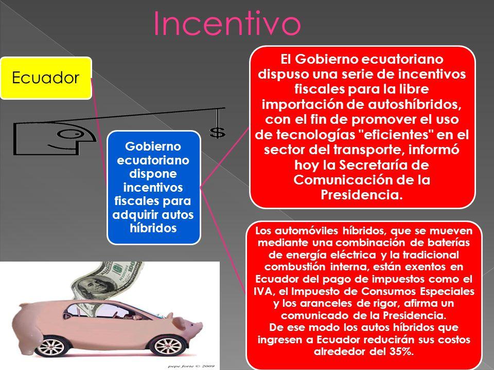 Ecuador Gobierno ecuatoriano dispone incentivos fiscales para adquirir autos híbridos El Gobierno ecuatoriano dispuso una serie de incentivos fiscales