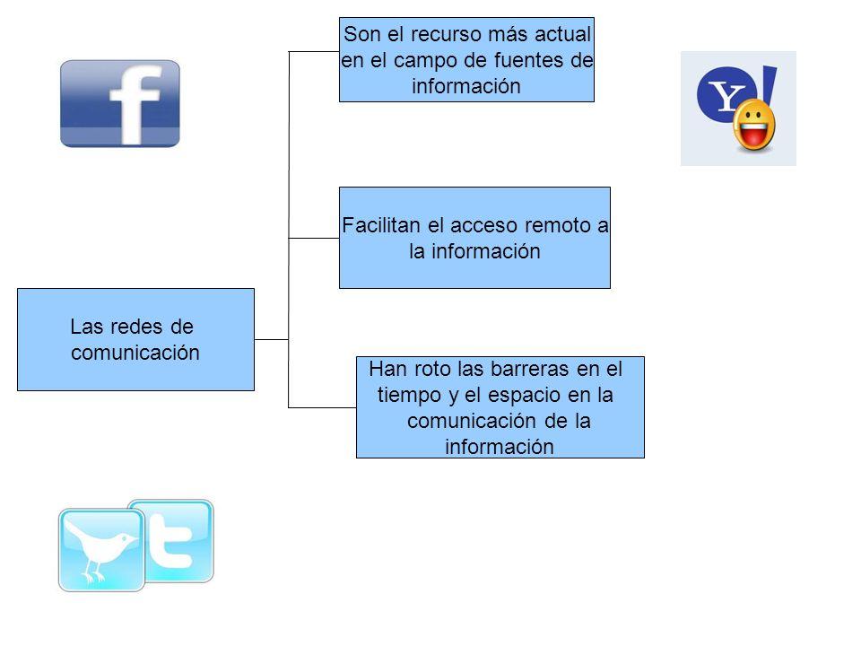 Las redes de comunicación Son el recurso más actual en el campo de fuentes de información Facilitan el acceso remoto a la información Han roto las bar