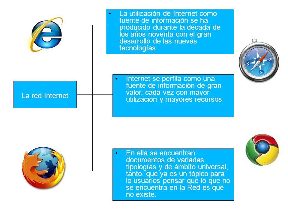La red Internet La utilización de Internet como fuente de información se ha producido durante la década de los años noventa con el gran desarrollo de