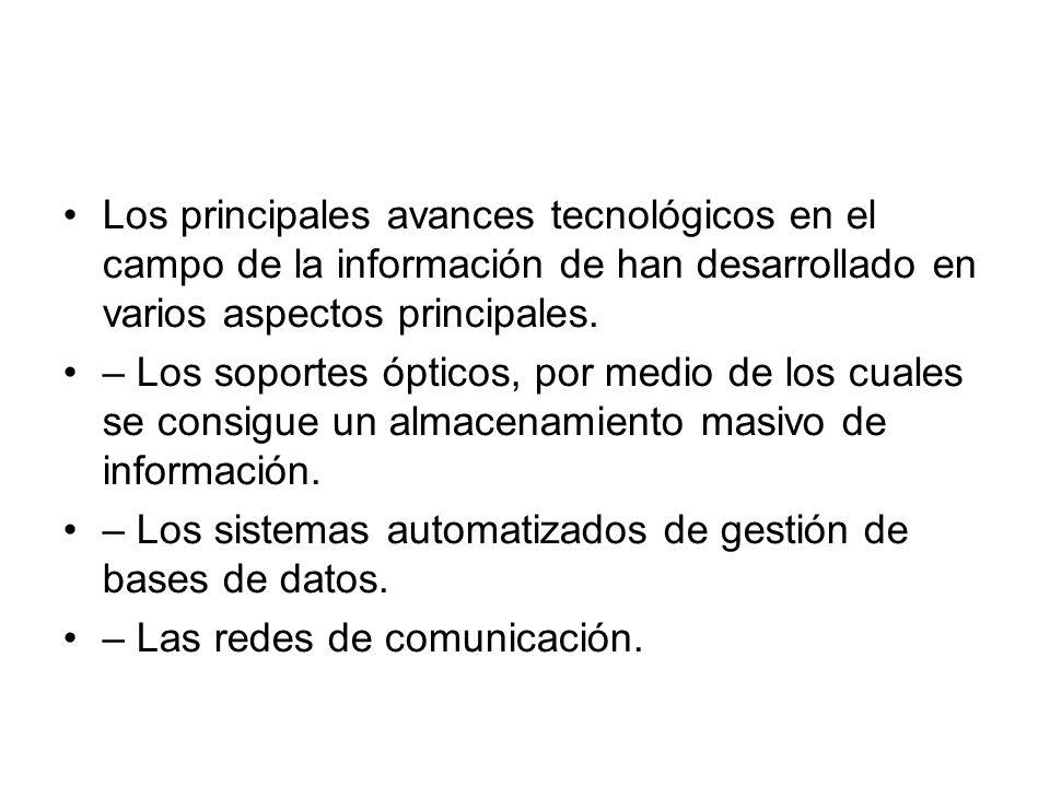 Los principales avances tecnológicos en el campo de la información de han desarrollado en varios aspectos principales.
