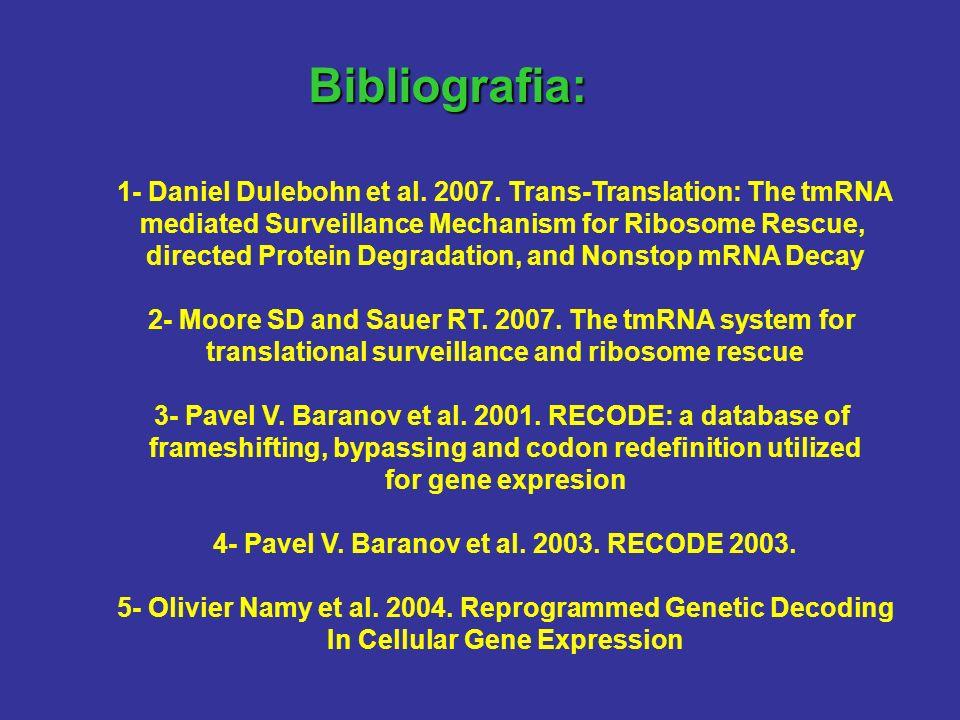 Bibliografia: 1- Daniel Dulebohn et al. 2007. Trans-Translation: The tmRNA mediated Surveillance Mechanism for Ribosome Rescue, directed Protein Degra
