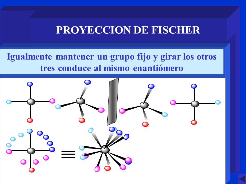 PROYECCION DE FISCHER Igualmente mantener un grupo fijo y girar los otros tres conduce al mismo enantiómero