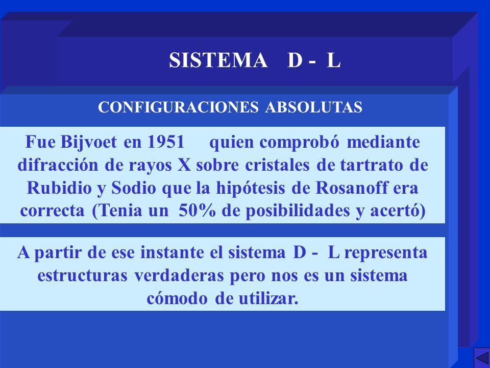 SISTEMA D - L Fue Bijvoet en 1951 quien comprobó mediante difracción de rayos X sobre cristales de tartrato de Rubidio y Sodio que la hipótesis de Ros
