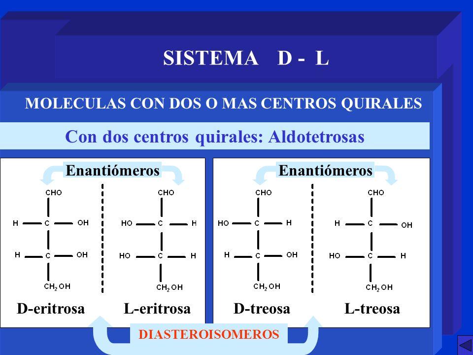 SISTEMA D - L Con dos centros quirales: Aldotetrosas MOLECULAS CON DOS O MAS CENTROS QUIRALES DIASTEROISOMEROS D-eritrosaL-eritrosaD-treosaL-treosa En