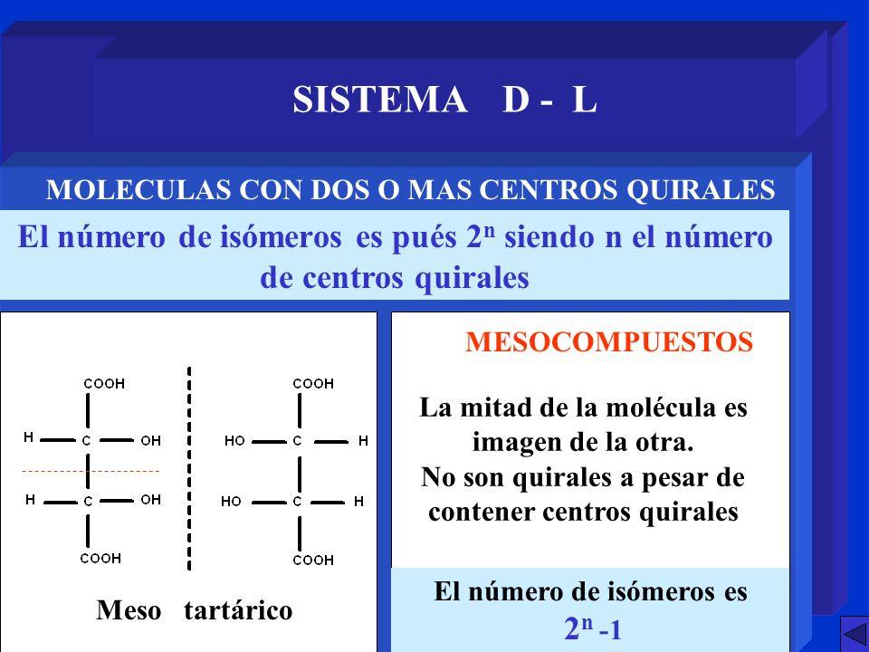 SISTEMA D - L El número de isómeros es pués 2 n siendo n el número de centros quirales MOLECULAS CON DOS O MAS CENTROS QUIRALES Meso tartárico MESOCOM