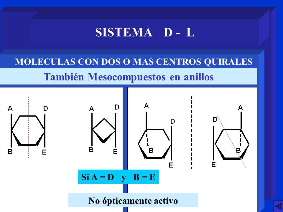 SISTEMA D - L También Mesocompuestos en anillos MOLECULAS CON DOS O MAS CENTROS QUIRALES Si A = D y B = E No ópticamente activo