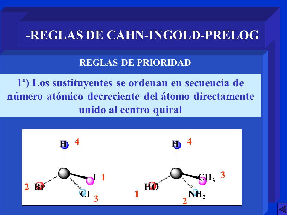 -REGLAS DE CAHN-INGOLD-PRELOG 1ª) Los sustituyentes se ordenan en secuencia de número atómico decreciente del átomo directamente unido al centro quira