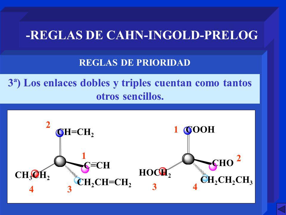 -REGLAS DE CAHN-INGOLD-PRELOG 3ª) Los enlaces dobles y triples cuentan como tantos otros sencillos. REGLAS DE PRIORIDAD 4 1 3 2 COOH CHO CH 2 CH 2 CH