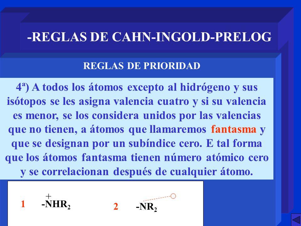 -REGLAS DE CAHN-INGOLD-PRELOG 4ª) A todos los átomos excepto al hidrógeno y sus isótopos se les asigna valencia cuatro y si su valencia es menor, se l