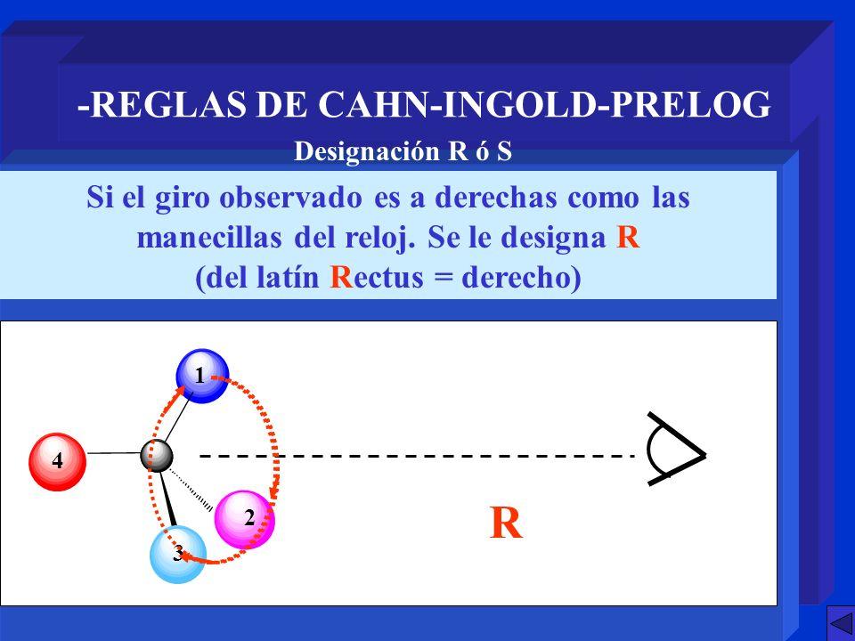 -REGLAS DE CAHN-INGOLD-PRELOG Si el giro observado es a derechas como las manecillas del reloj. Se le designa R (del latín Rectus = derecho) Designaci