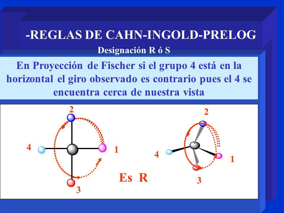 -REGLAS DE CAHN-INGOLD-PRELOG En Proyección de Fischer si el grupo 4 está en la horizontal el giro observado es contrario pues el 4 se encuentra cerca
