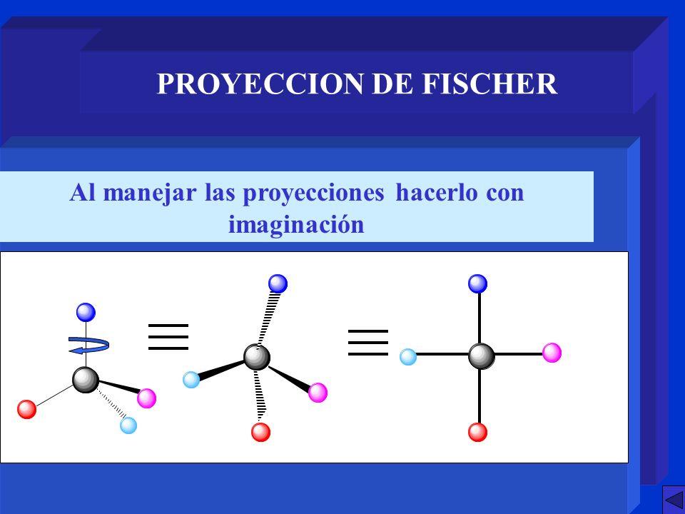 PROYECCION DE FISCHER Permutar dos grupos en la proyección equivale a hacerlo en la molécula (paso al otro enantiómero)