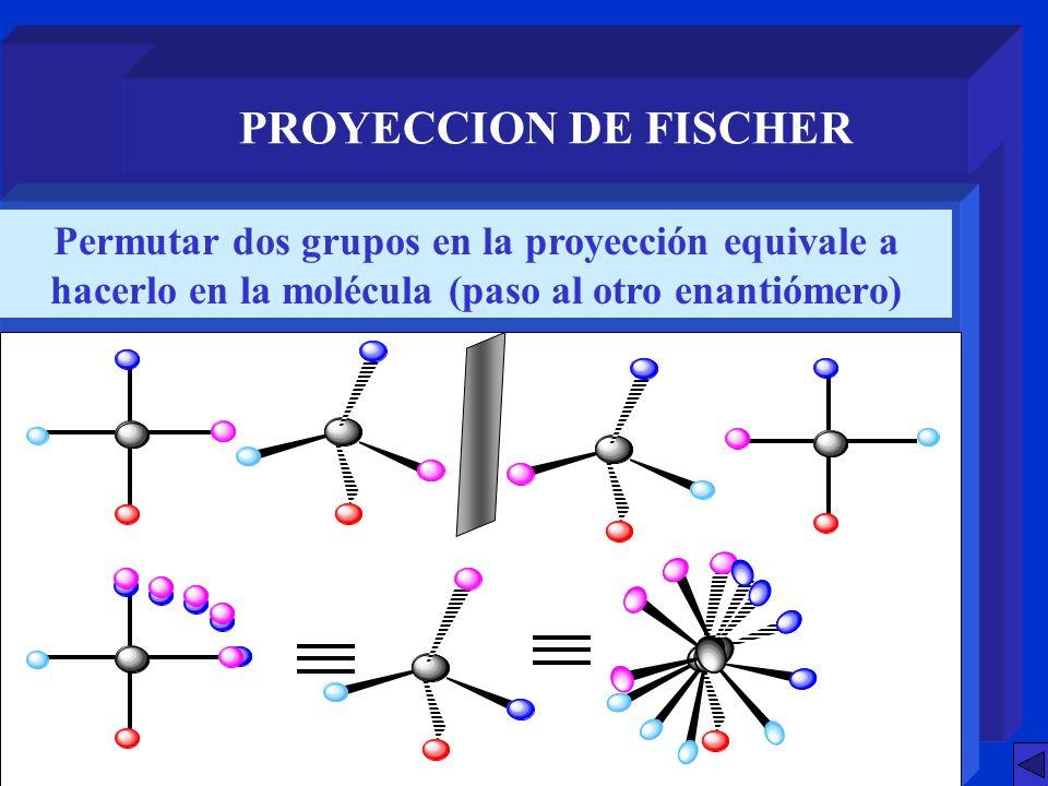 PROYECCION DE FISCHER También se pasa de un enantiómero a otro al girar 90º la proyección
