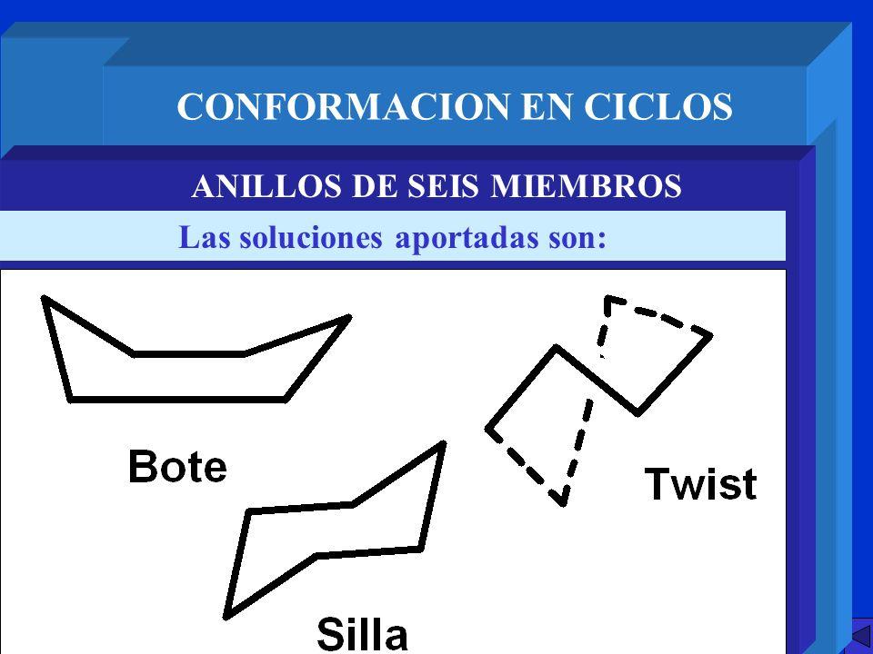 CONFORMACION EN CICLOS ANILLOS DE SEIS MIEMBROS Las soluciones aportadas son: