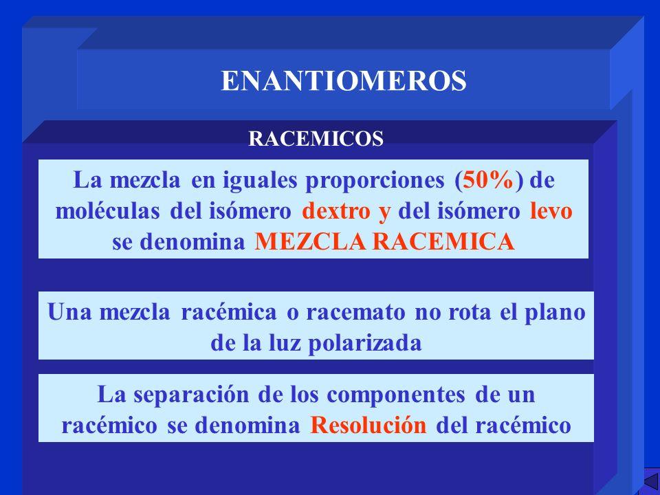 ENANTIOMEROS RACEMICOS La mezcla en iguales proporciones (50%) de moléculas del isómero dextro y del isómero levo se denomina MEZCLA RACEMICA Una mezc