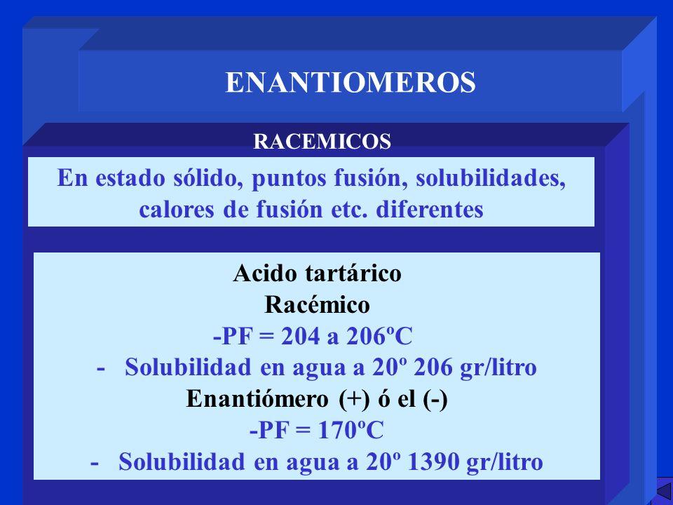 ENANTIOMEROS RACEMICOS En estado sólido, puntos fusión, solubilidades, calores de fusión etc. diferentes Acido tartárico Racémico -PF = 204 a 206ºC- -