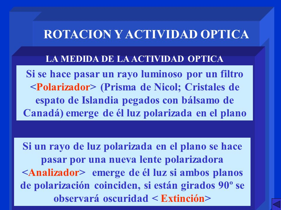ROTACION Y ACTIVIDAD OPTICA LA MEDIDA DE LA ACTIVIDAD OPTICA Si se hace pasar un rayo luminoso por un filtro (Prisma de Nicol; Cristales de espato de