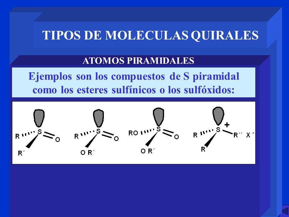 TIPOS DE MOLECULAS QUIRALES ATOMOS PIRAMIDALES Ejemplos son los compuestos de S piramidal como los esteres sulfínicos o los sulfóxidos:
