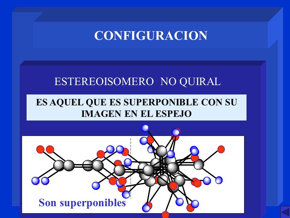 CONFIGURACION ES AQUEL QUE ES SUPERPONIBLE CON SU IMAGEN EN EL ESPEJO ESTEREOISOMERO NO QUIRAL Son superponibles