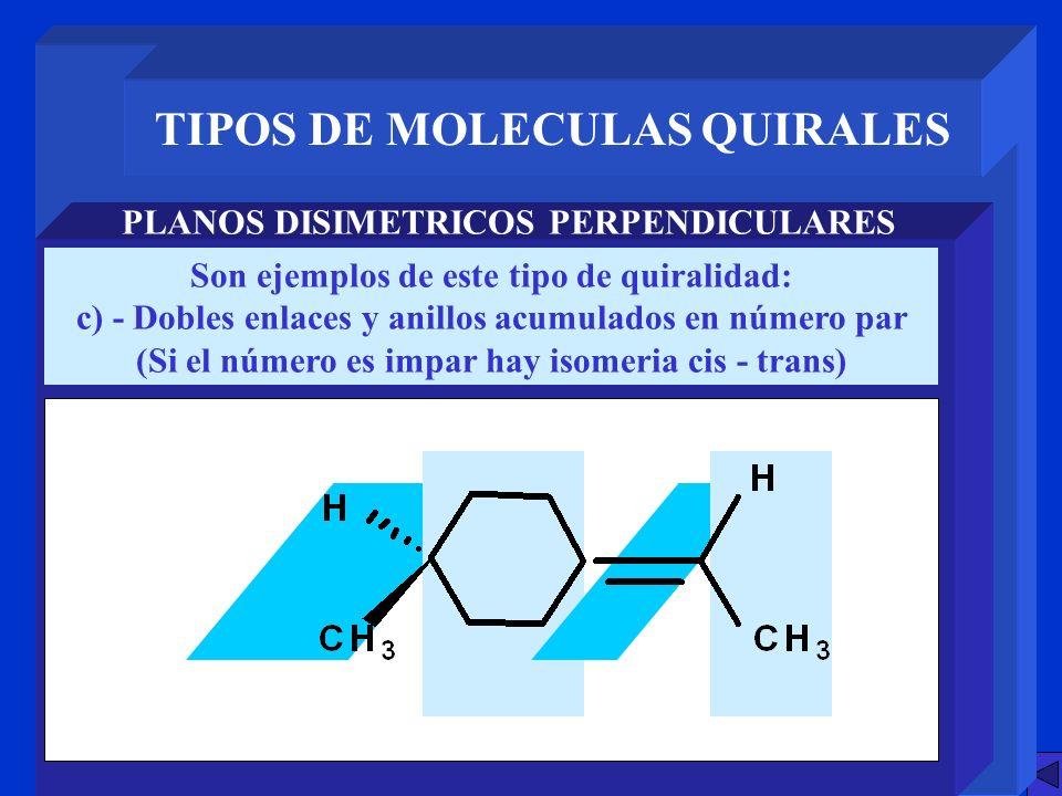 TIPOS DE MOLECULAS QUIRALES PLANOS DISIMETRICOS PERPENDICULARES Son ejemplos de este tipo de quiralidad: c) - Dobles enlaces y anillos acumulados en n