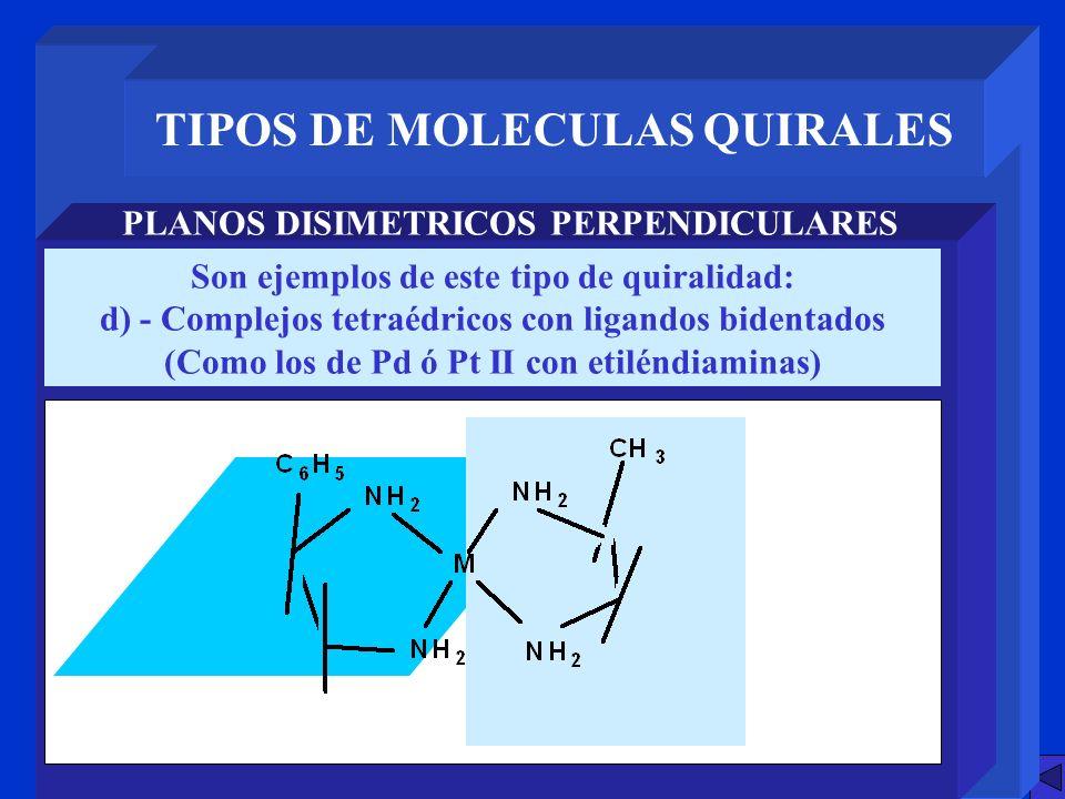 TIPOS DE MOLECULAS QUIRALES PLANOS DISIMETRICOS PERPENDICULARES Son ejemplos de este tipo de quiralidad: d) - Complejos tetraédricos con ligandos bide