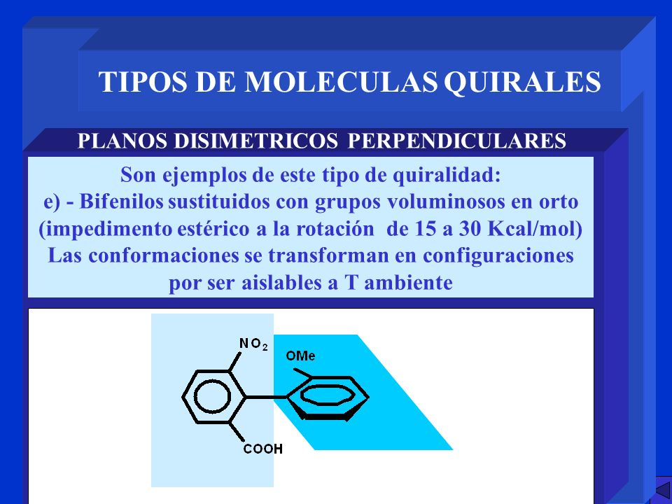 TIPOS DE MOLECULAS QUIRALES PLANOS DISIMETRICOS PERPENDICULARES Son ejemplos de este tipo de quiralidad: e) - Bifenilos sustituidos con grupos volumin