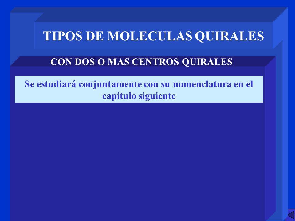 TIPOS DE MOLECULAS QUIRALES CON DOS O MAS CENTROS QUIRALES Se estudiará conjuntamente con su nomenclatura en el capitulo siguiente