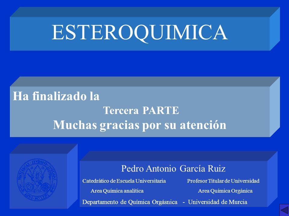 ESTEROQUIMICA Pedro Antonio García Ruiz Catedrático de Escuela Universitaria Profesor Titular de Universidad Area Química analítica Area Química Orgán