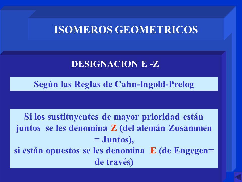 ISOMEROS GEOMETRICOS DESIGNACION E -Z Según las Reglas de Cahn-Ingold-Prelog Si los sustituyentes de mayor prioridad están juntos se les denomina Z (d
