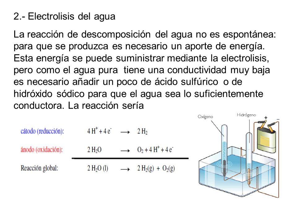 2.- Electrolisis del agua La reacción de descomposición del agua no es espontánea: para que se produzca es necesario un aporte de energía. Esta energí