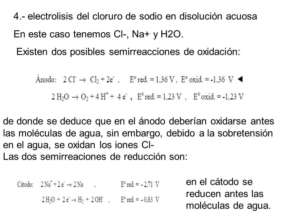 4.- electrolisis del cloruro de sodio en disolución acuosa En este caso tenemos Cl-, Na+ y H2O. Existen dos posibles semirreacciones de oxidación: de