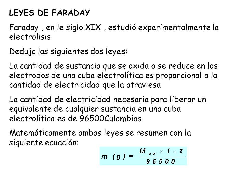 LEYES DE FARADAY Faraday, en le siglo XIX, estudió experimentalmente la electrolisis Dedujo las siguientes dos leyes: La cantidad de sustancia que se