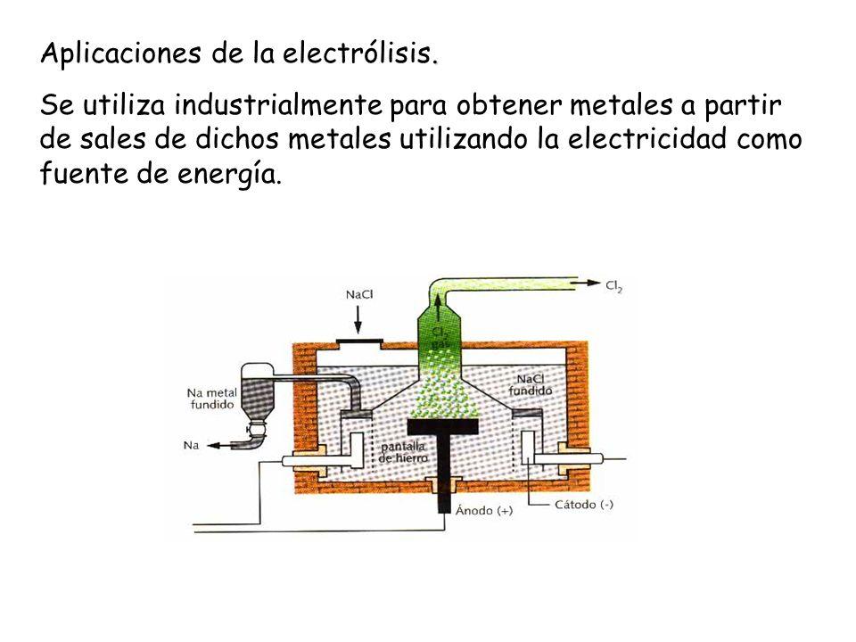. Aplicaciones de la electrólisis. Se utiliza industrialmente para obtener metales a partir de sales de dichos metales utilizando la electricidad como