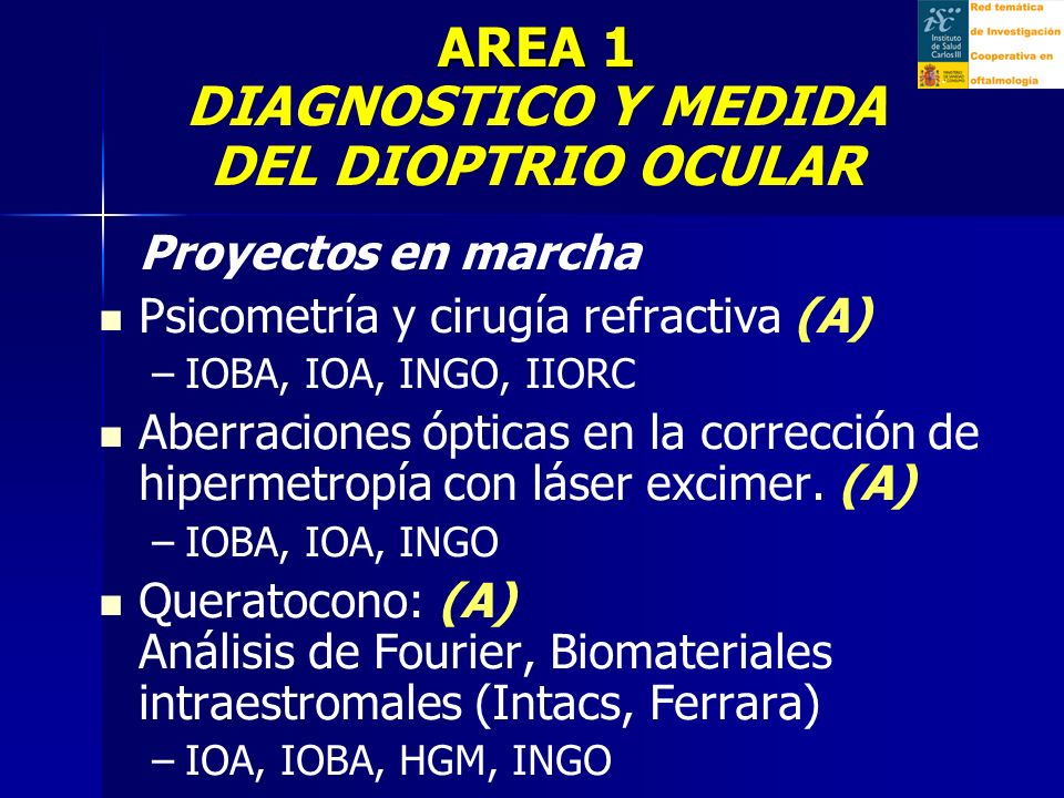 Proyectos en marcha Aberraciones ópticas y lentes intraoculares: ex-vivo e implantadas (A) – –IOA, IOBA Medición objetiva de la acomodación (Moire Acuity Test, OQAS) (A) – –IOA Ojo seco y cirugía refractiva (A) – –IOBA, IOA Medición de las aberraciones ópticas y scattering del cristalino (10 a 75 años) (F) – –IOA AREA 1 AREA 1 DIAGNOSTICO Y MEDIDA DEL DIOPTRIO OCULAR.