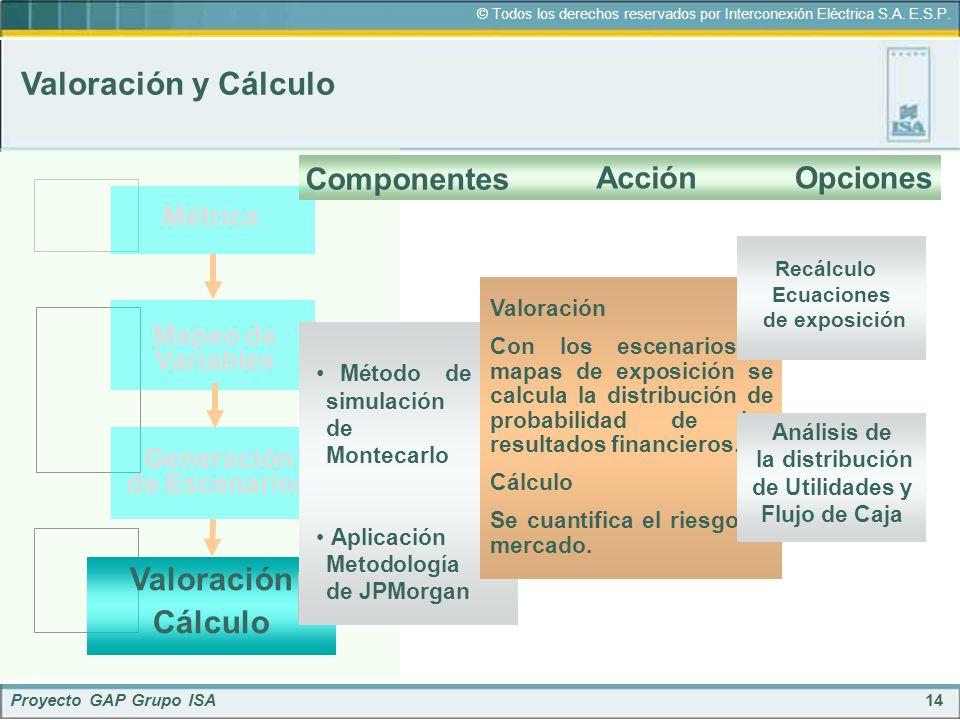 14 © Todos los derechos reservados por Interconexión Eléctrica S.A. E.S.P. Proyecto GAP Grupo ISA Valoración y Cálculo Métrica Mapeo de Variables Gene
