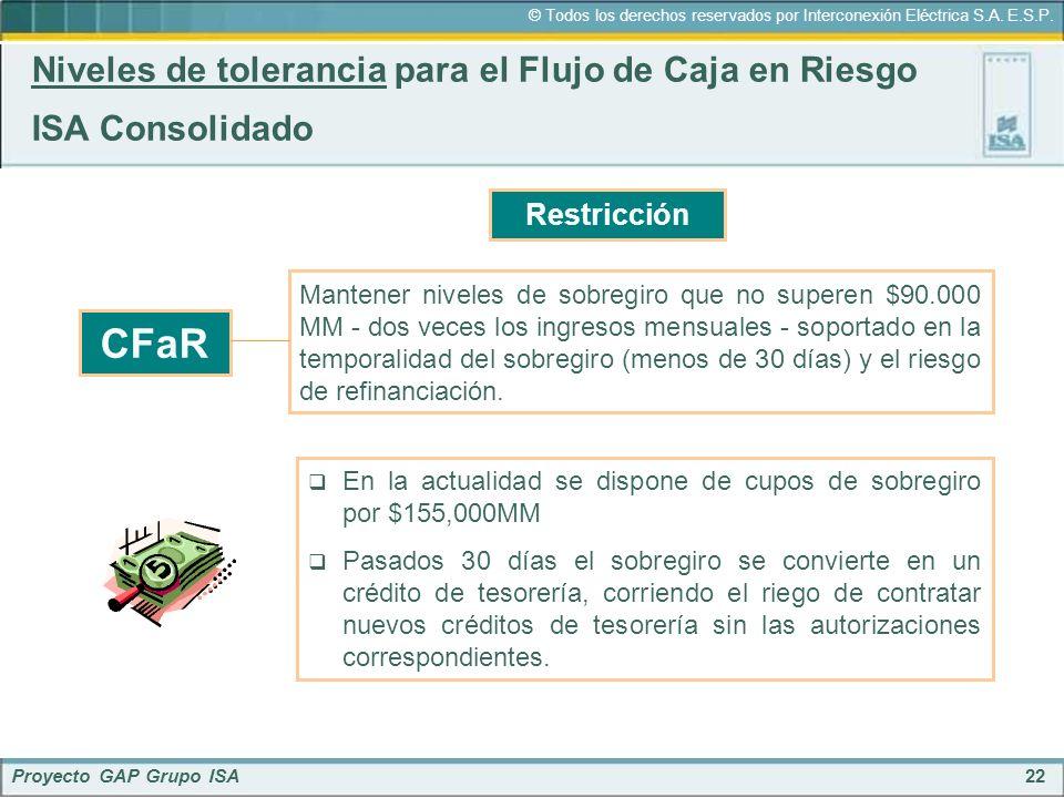22 © Todos los derechos reservados por Interconexión Eléctrica S.A. E.S.P. Proyecto GAP Grupo ISA Niveles de tolerancia para el Flujo de Caja en Riesg