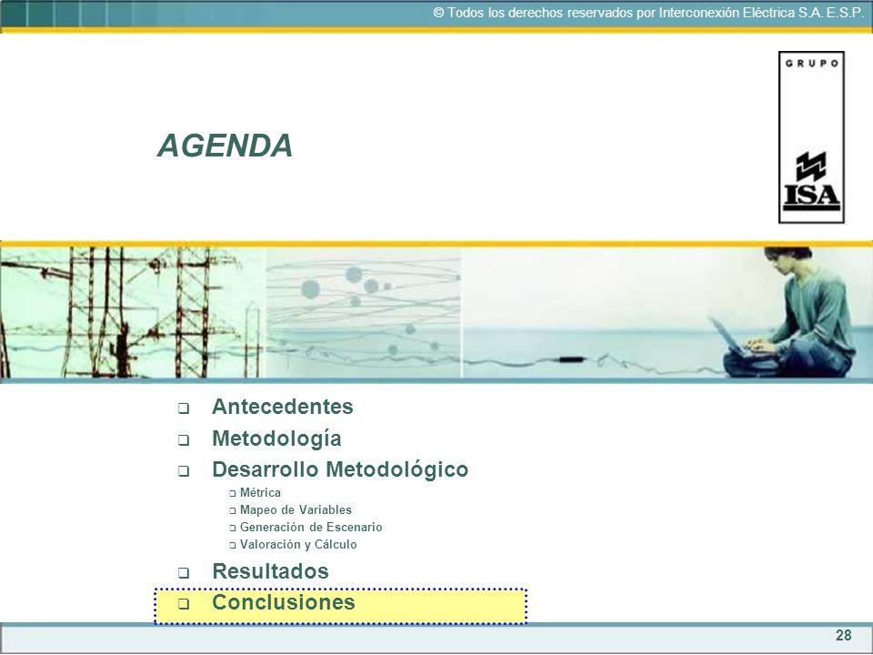 28 © Todos los derechos reservados por Interconexión Eléctrica S.A. E.S.P. AGENDA Antecedentes Metodología Desarrollo Metodológico Métrica Mapeo de Va