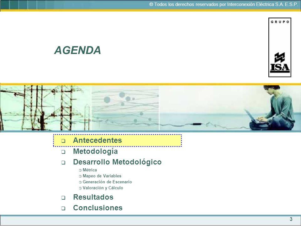 3 © Todos los derechos reservados por Interconexión Eléctrica S.A. E.S.P. AGENDA Antecedentes Metodología Desarrollo Metodológico Métrica Mapeo de Var