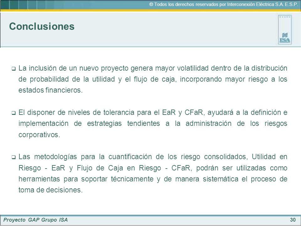 30 © Todos los derechos reservados por Interconexión Eléctrica S.A. E.S.P. Proyecto GAP Grupo ISA Conclusiones La inclusión de un nuevo proyecto gener