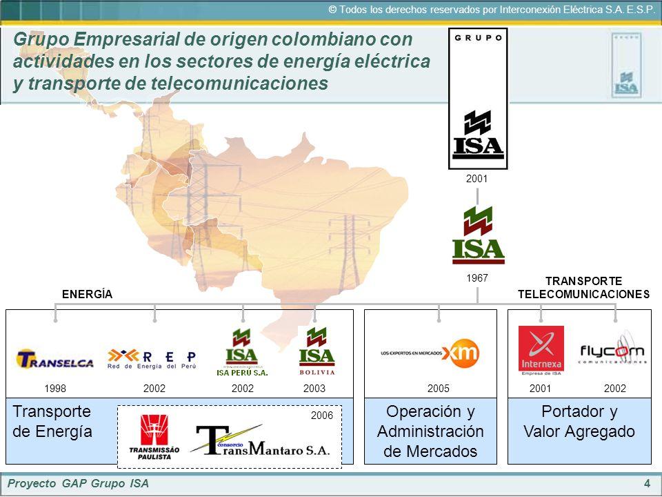 4 © Todos los derechos reservados por Interconexión Eléctrica S.A. E.S.P. Proyecto GAP Grupo ISA 200219982002200320012002 Grupo Empresarial de origen