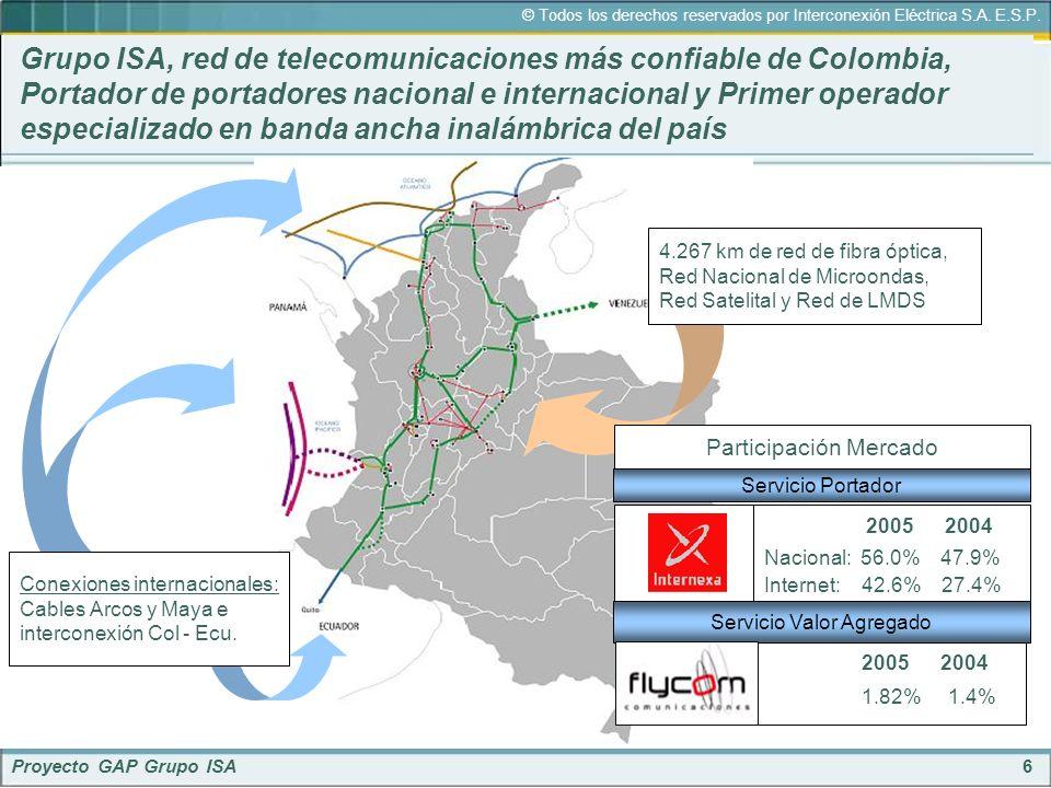 6 © Todos los derechos reservados por Interconexión Eléctrica S.A. E.S.P. Proyecto GAP Grupo ISA Grupo ISA, red de telecomunicaciones más confiable de