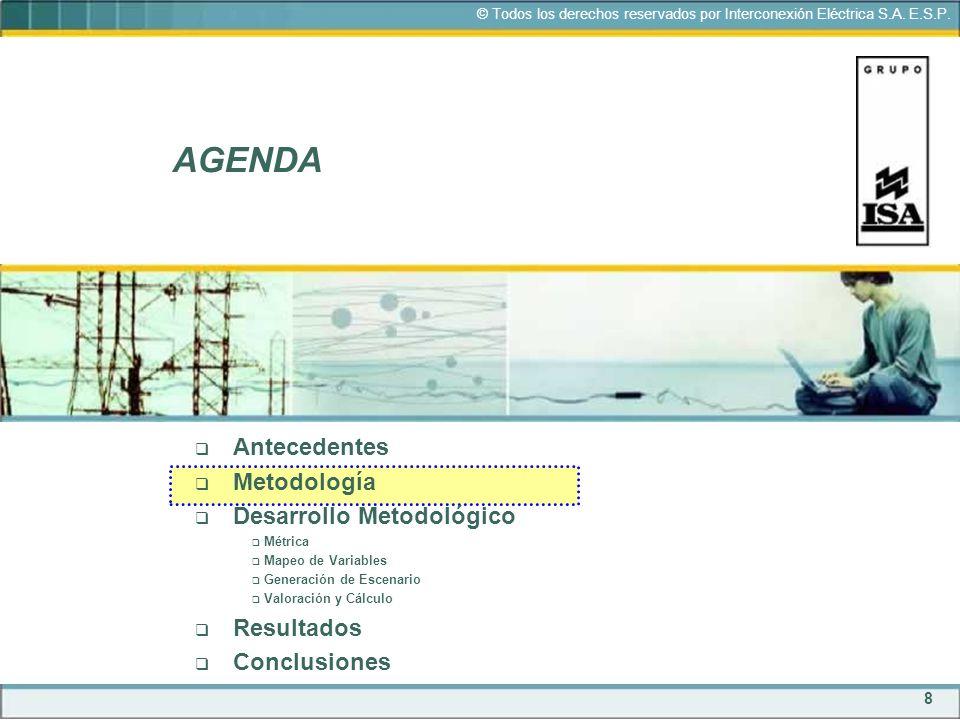 8 © Todos los derechos reservados por Interconexión Eléctrica S.A. E.S.P. AGENDA Antecedentes Metodología Desarrollo Metodológico Métrica Mapeo de Var