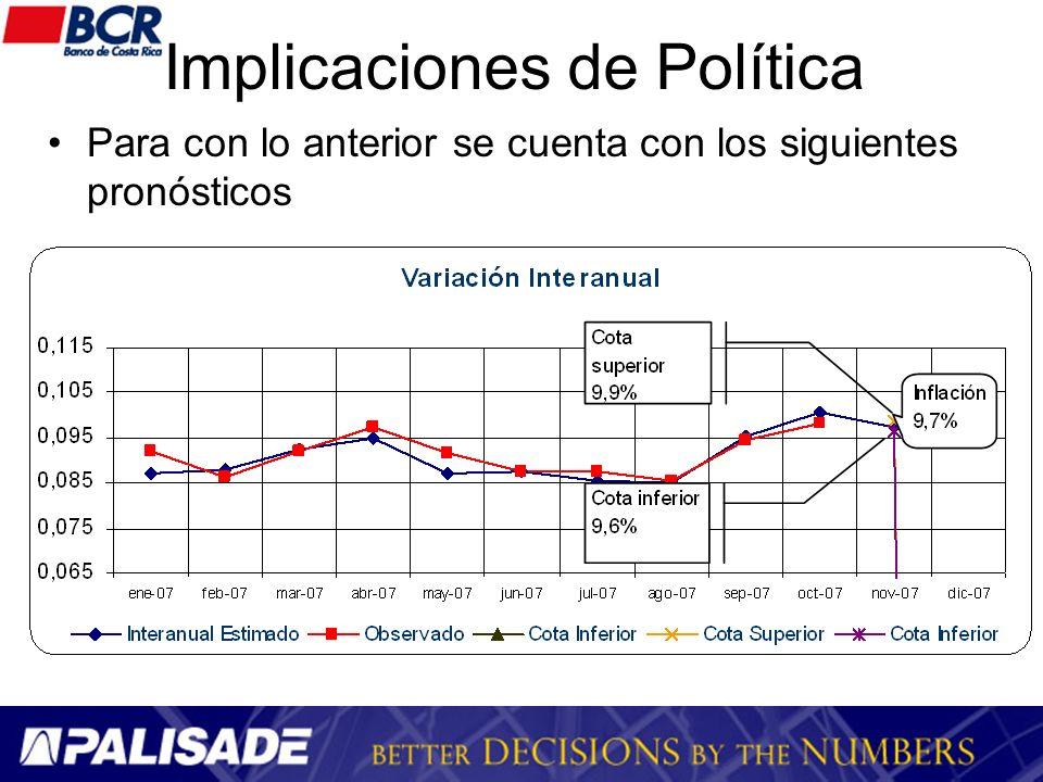 Implicaciones de Política Para con lo anterior se cuenta con los siguientes pronósticos