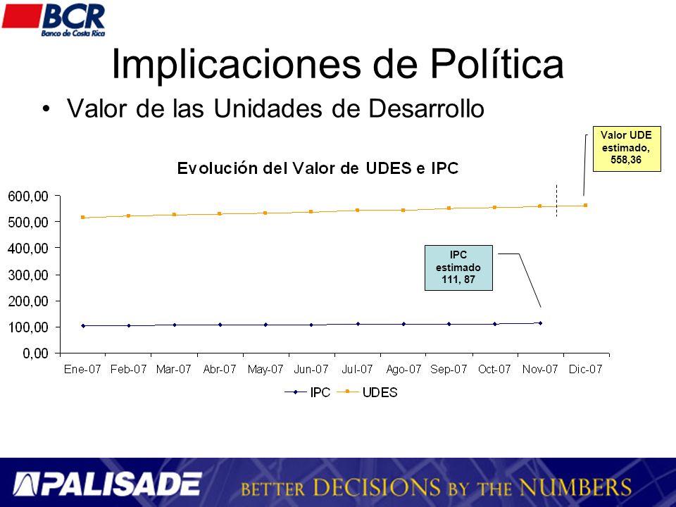 Implicaciones de Política Valor de las Unidades de Desarrollo Valor UDE estimado, 558,36 IPC estimado 111, 87