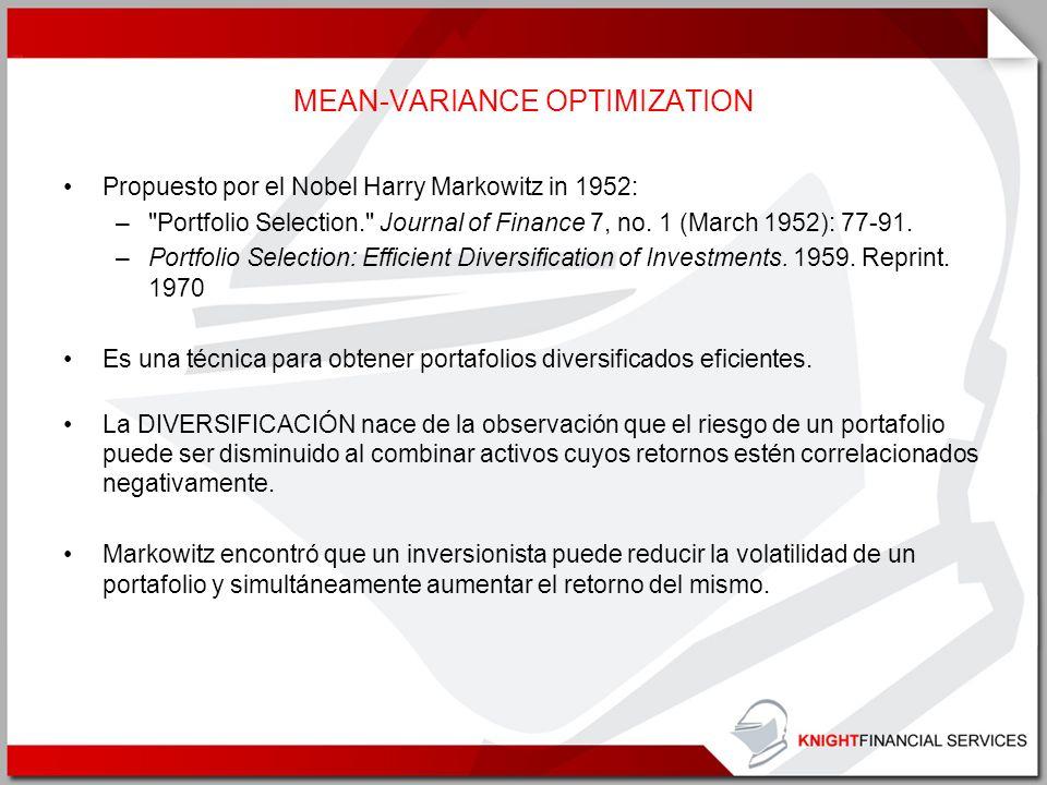 MEAN-VARIANCE OPTIMIZATION Propuesto por el Nobel Harry Markowitz in 1952: –