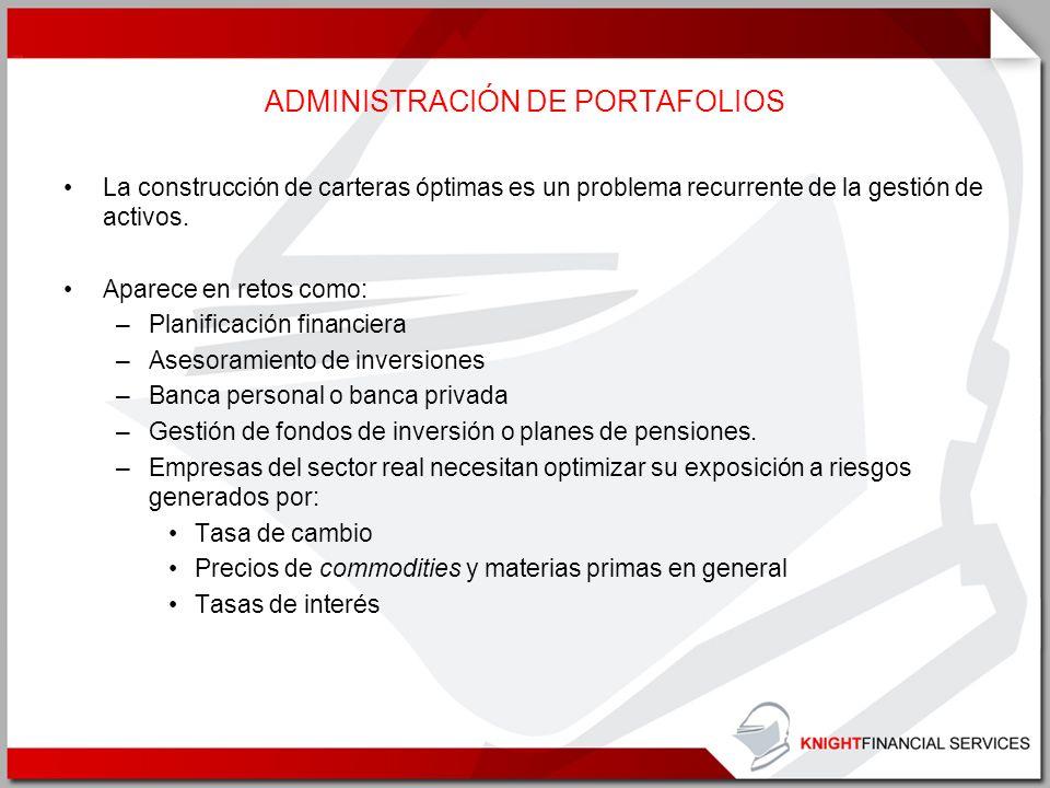 ADMINISTRACIÓN DE PORTAFOLIOS La construcción de carteras óptimas es un problema recurrente de la gestión de activos. Aparece en retos como: –Planific
