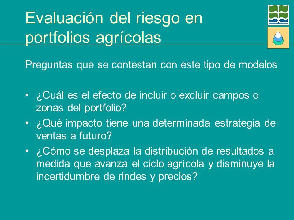 Evaluación del riesgo en portfolios agrícolas Preguntas que se contestan con este tipo de modelos ¿Cuál es el efecto de incluir o excluir campos o zon